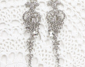 Wedding Bridal Earrings Dangle Chandelier Crystal Rhinestone