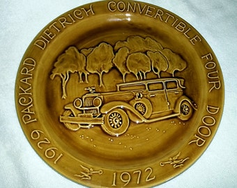 Brown 1929 Packard Convertible 1972 Historic American Motorcars Stoneware Plate Ltd Ed