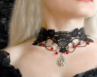 Black Gothic Choker – Necklace Elegant Vampire Victorian, black venise lace crochet.