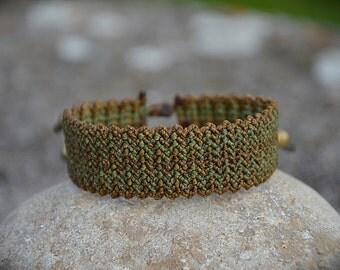 Brown Green Macrame Frienship Bracelet