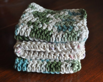 Set of 3 Hand Crochet Washcloths/Dishcloths in Cream and Blue and Green Multicolored Yarn