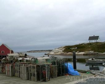 Photography, Lobster Pots, Red Shack, White House on Hill, Peggy's Cove, Nova Scotia, Fine Art Print, Home Decor, 5x7, 8x10, 11x14, Wall Art