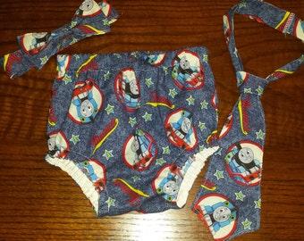 Thomas the Train Cake Smash Outfit; Boys Diaper cover and tie set Thomas the Train, Thomas the train cake smash set outfit