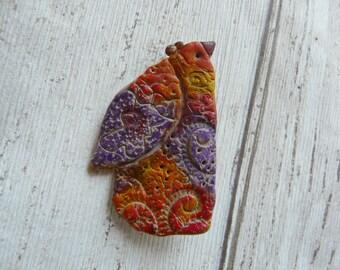 Art Bird Brooch, Polymer Clay Art Brooch, Bird Brooch Pin, Bird Pin Jewelry, Hipster Brooch