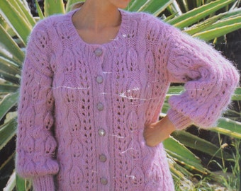 Womens vintage knitting pattern chunky cardigan lady's pdf INSTANT download pattern only pdf 1980s