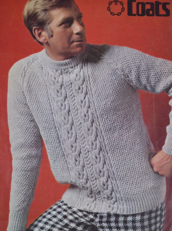 Men's cable sweater vintage knitting pattern by ...