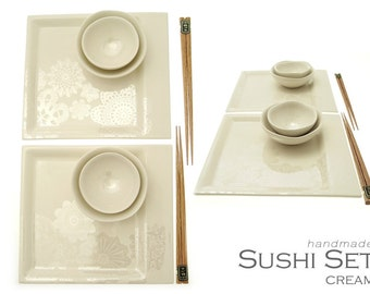 Stylish & orginal handmade Cream Sushi Set 8 pcs, boxed, perfect for gift, wedding, anniversary or birthday SS-LACE-CRE