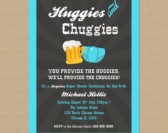 Beer and Diaper Shower Invitation - Huggies and Chuggies Party - Guys Diaper Shower Invitation Printable Co-ed Baby Shower Man Shower