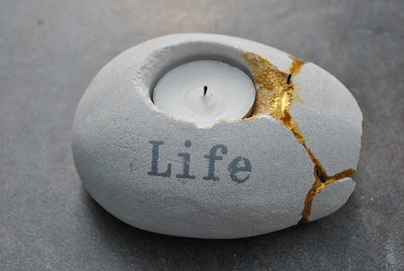 Life Can Be Mended Tea Light Kintsugi Candle Holder with Gold Seams