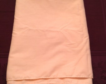 """Vintage pink cotton tablecloth liner, rounded corners, finished edges - 57"""" x 78"""""""