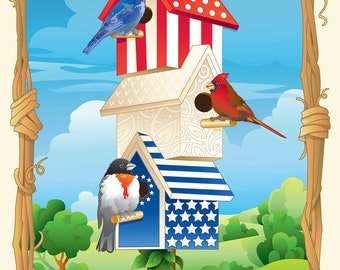 Patriotic Birdhouse. This piece is a fun, patriotic piece!