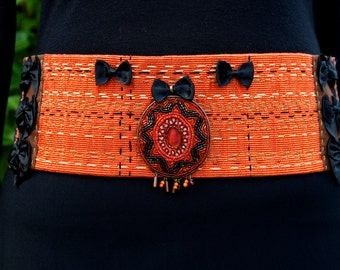 Wide belt handmade, unique.Fully beaded and embroidered