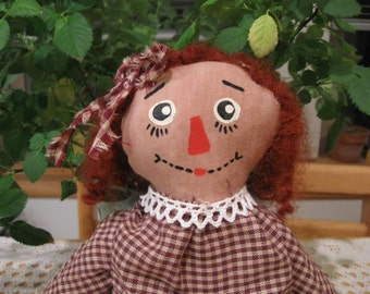 Primitive Folk Art, Primitive Folk Art Dolls, Primitive Folk Art Raggedy Annie Doll, FAAP. OFG, HAFair