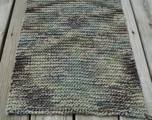 Camo cotton bath mat, machine washable kitchen rug, camo bedroom knit rug, cotton baby blanket, 2 strands of 100% USA cotton yarn