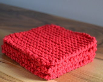 Set of 6 coasters, hand crafted coasters, knit coasters (knitted with 100% USA cotton yarn), ready to ship