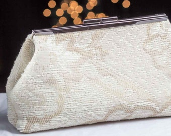 White on Off White Clutch with Silky  Lining.