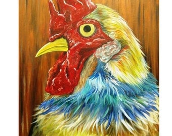 Beautiful Rooster Acrylic Painting on Canvas