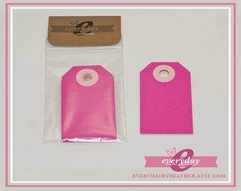 Small Parcel Gift Tags - Fuchsia - Pink - Qty 10