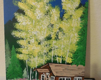 "Original 9"" x 12"" Acrylic Painting. ""Red River New Mexico Cabin in the Woods"""
