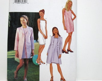 Butterick 3415 ~ Girls' and Teen Shoulder Strap Dress for Parties & Weddings with Straight Coat Jacket SIZE 7-8-10 UNCUT Sewing Pattern