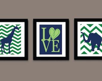 Elephant Chevron Art Prints, Childrens Art Print, Pink Girls Art Print, Modern Wall Art, Love Kids Art Print 538A