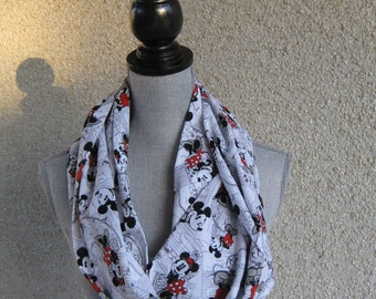 Fabric scarf, Infinity scarf, tube scarf, eternity scarf, loop scarf, long scarf, Mickey Mouse, Minnie Mouse