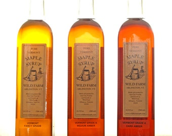 500ml Glass Bottle Wild Farm Pure Vermont Grade A Maple Syrup
