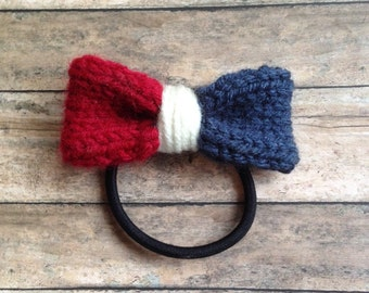4th of July Red, White, & Blue Patriotic Knitted Hair Bow! Nylon headband or hair tie