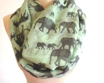 Infinity scarf, circle scarf women, elephant scarf, eternity scarf, elephant print infinity scarf