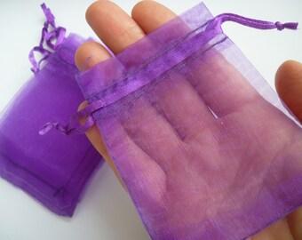 10 Purple Organza Bags 9cm x 7cm - CB3