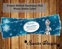 Frozen Olaf Water Bottle Labels - INSTANT- DIY -