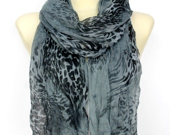Gray Leopard Scarf Womens Scarves Fashion Accessories Black Leopard Scarf Printed Scarves Gift for her Spring Summer Autumn Winter Scarfs