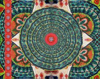 Mandala Foulard,  100% Habotai Silk, 102cm x 102cm