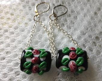Black Floral Glass Lampwork Swing Earrings
