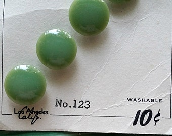 Vintage button pack. Sage green plastic buttons. Sewing supplies and notions.