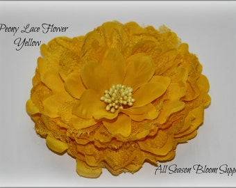 "5"" Flower, Peony Lace Flower, Big Fabric Flower, Peony Flower, Lace Flower, DIY"