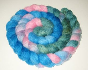 Polwarth Wool / Silk Blend Roving - Hand Dyed Roving for Spinning and Felting