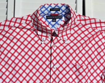 Awesome TOMMY HILFIGER Long Sleeve Button Down Shirt Large L Tommys Amazing Detail throughout. Red White & Blue Oversize Checkered