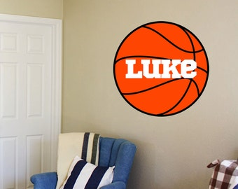 Basketball Wall Decal with child's name - Personalized Basketball Sticker