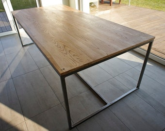 "Table, large dining table, kitchen table, wooden table, desk, writing desk, unique, rectangular, Industrial series ""Industrial Dining"""