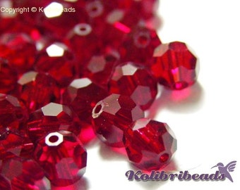 10x Round Faceted Czech Crystal Beads 6 mm - Siam (Red)