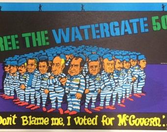 Free the Watergate 500 original blacklight poster