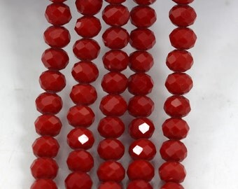 1 Strand 100pcs Faceted Crystal Glass ,Red Crystal Beads,One Strand,Crystal Beads,Gemstone Beads,Jewelry Supplies---6mm--- J0026