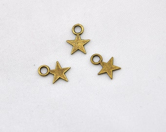 Five-pointed star charm -50pcs Antique Bronze mini Five-pointed star charm Pendants discovery of earrings and bracelets --8*11mm--G258