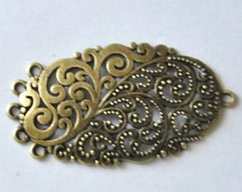 6pcs Antique Bronze Filigree Connector Charm Pendant for Earrings And necklace--30*52mm--G354