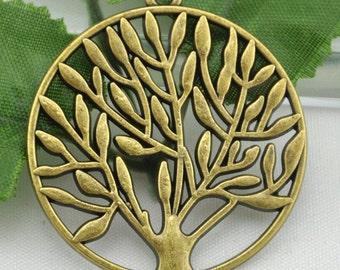 36mm---10 pcs Antique Bronze Filigree Round Tree Charm Pendants,DIY Accessory Jewelry Making ---G1135