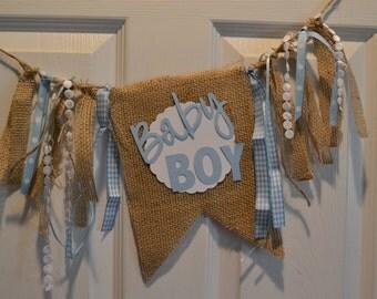 Baby Boy burlap banner