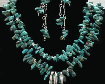 Designer MHaddadH, 16 inch Genuine Chinese Turquoise/Sterling Silver with Optional Matching Earrings or Earlings