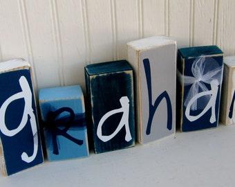 Personalized Name Blocks Nursery Decoration Kids Name Blocks Children Decoration Baby Shower Gift Baby Gift Nautical Theme