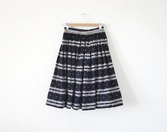 SALE ~ 1950s KORET skirt / polka dots stripes skirt / Small